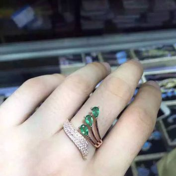 Natural green emerald Ring Natural gemstone Adjustable Ring 925 sterling silver trendy elegant Angel wing women's party Jewelry