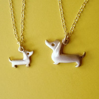 Mother and Child Dachshund Dog Necklaces in by zoozjewelry on Etsy