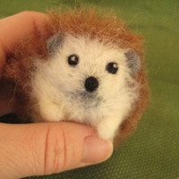 Needle Felted Hedgehog Miniature by minifeet on Etsy