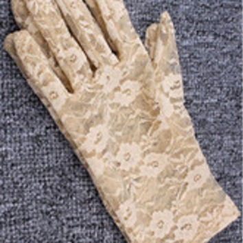Lace Floral Crocheted Sun Protective Short Knitted Gloves Beige
