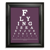Peter Pan Eye Chart, Flying Is Easy Just Think Happy Thoughts, 8 x 10 Giclee Print BUY 2 GET 1 FREE