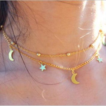 ONETOW Explosive multi - layer simple and exquisite lasso moon star necklace chain