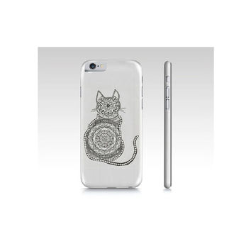 Cat, mandala, phone case, iPhone, hard phone cover, accessories, Zen, Zentangle, drawing, boho style, gift, black and white, Namaste,for her