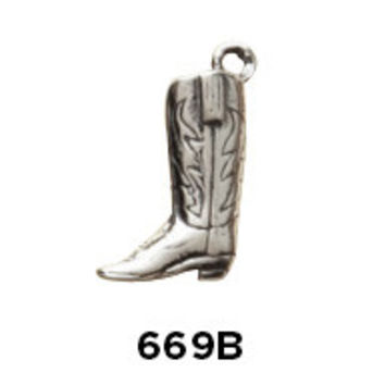 Large Cowboy Boot Charm Sterling Silver .925