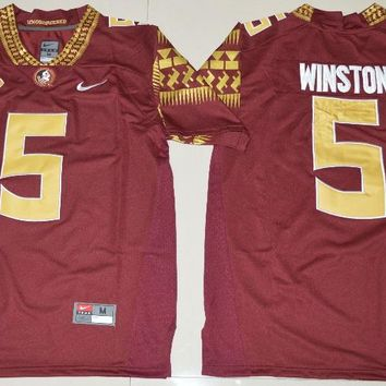 Florida State Seminoles Jameis Winston 5 College Ice Hockey Jerseys Limited Jersey - Red Size S,M,L,XL,2XL,3XL