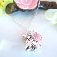 Puffy rabbit zodiac charm cherry blossom Swarovski crystal necklace