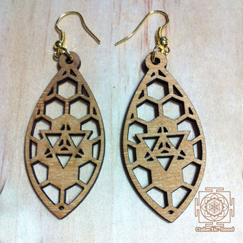 Merkaba earrings / laser cut / wood / sacred geometry / handmade earrings / brass / antique brass / silver / boho