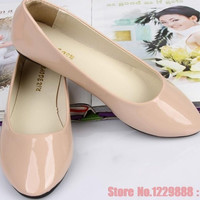 size 35-41 new arrival women flats Korean candy color flat shoes woman casual ballet flats patent leather women shoes = 1958668484