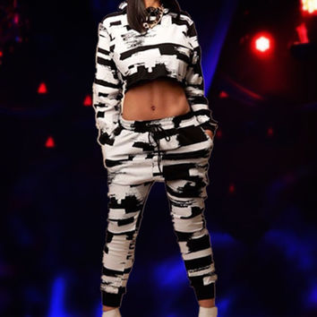 Black and White Long Sleeve Cropped Top and Pants Set