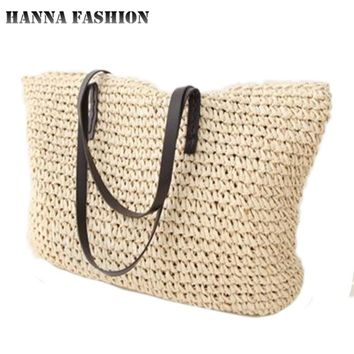 Hot fashion Simple hollow beach bags women straw bag vintage knitted big tote bags shoulder bags