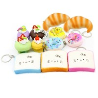 Lot of Squishy Food Korean Squeeze Toy Keychain Cell Charms