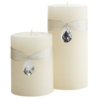 Silver Snow Distressed Pillar Candles