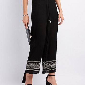 Embroidered-Trim Palazzo Pants