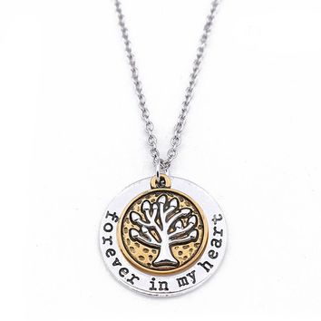2018 Vintage Lucky Tree Life Necklace Family Tree Charm Love Dream Hope Trust Word Circle Pendant Necklace Jewelry Gift