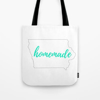 Iowa Tote Bag, White and Mint, State Outline, Homemade Typography, Custom State Tote, State Shape Bag, Small Tote, Large Tote Bag