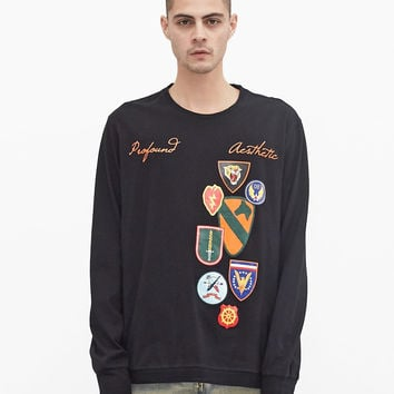 Orange Army Patch Printed Graphic Long Sleeve Crewneck Tee in Black