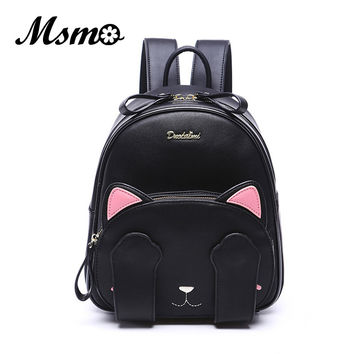 MSMO Kawaii Cat Ear Backpack Black Preppy Style School Backpacks For Teenage Girls College Style Casual Backpack Sac Mochilas