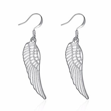 9 months new style 925 sterling silver jewelry fashion trend Bohemian wind hollow earrings angel wings
