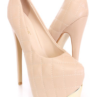 Nude Quilted Platform Pump Heels Faux Leather