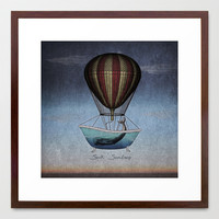Seek Sanctuary Whales Framed Art Print by Galen Valle