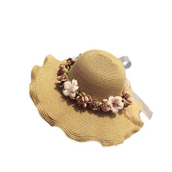 Summer Handmade Flower Strawhat Women's Garland Sunbonnet Bucket Hat Wave Edge Beach Cap Sun Hat For Women