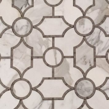 Italian Calacatta Gold Polished Marble Sinuous Waterjet Mosaic Tile