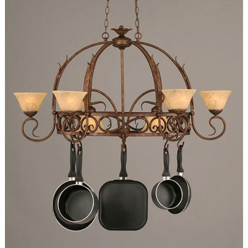Toltec Lighting 216-BRZ-508 Leaf Bronze Eight-Light Pot Rack with Italian Marble Glass