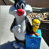 Vinyl 1972 Tweety's Bank Tweety and Sylvester Money Bank with 1971 Replacement Stopper