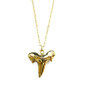 Gold Dipped Shark Tooth Necklace by toccajewelry on Etsy