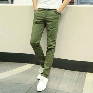 Khaki Pants Men 2017 Men's Slim Straight Long Casual Cotton Pants Solid StretchTrousers Male pants sweatpants Brand clothing 44