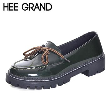 HEE GRAND 2017 Patent Leather Women Oxfords British New Spring Platform Flats Casual Lace-Up Ladies Brogue Shoes Woman XWD6041