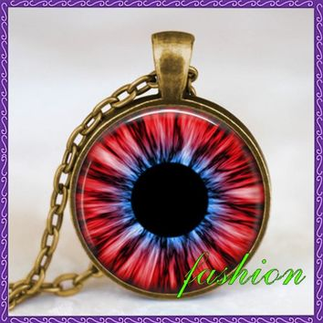 Evil eye necklace third eye necklace turkish eye jewelry human iris eye jewelry antique bronze with gift copper charm pendants