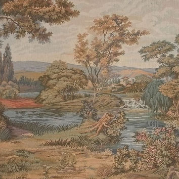 """Vintage Jacquard Tapestry Fabric Panel Pastoral Scene River Pond Waterfall Country Estate Woods Pastel Colors 15"""" Wide by 18"""" Long"""