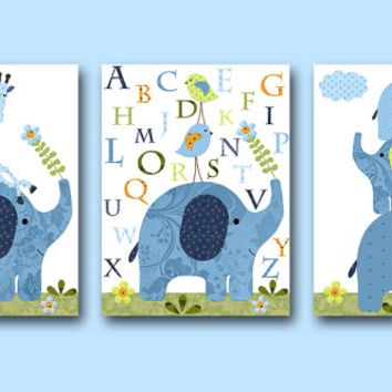 Kid Wall Art Nursery Print Elephant Nursery Giraffe Nursery Alphabet Nursery Baby Nursery Decor Baby Boy Nursery Set of 3 Green Blue Navy