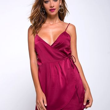 Furia Wrap Dress in Burgundy by Motel