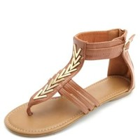 Chevron Embellished Thong Gladiator Sandals - Cognac