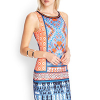 FOREVER 21 Abstract Printed Bodycon Dress Blue/Orange