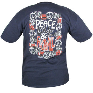 Bjaxx Peace Love Football Zebra Navy Sports Girlie Bright T Shirt