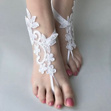White ivory champagne blue pink black Barefoot Sandals, Beach Wedding sandals, wedding barefoot,  jewelry Bridesmaid, Bridal Barefoot