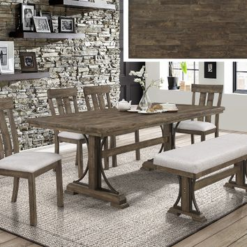 6 pc Quincy rustic brown finish wood industrial style metal leg dining table set