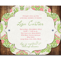 Rustic Bridal Shower Invitation Vintage Baby Shower Rustic Wedding Pink Green Damask Lace & Wood DIY Digital or Printed - Lisa Style