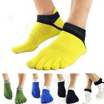 1 Pair Hot Finger Socks Patchwork Men Socks Casual Cotton Socks For Men Sport Socks Pure Socks New