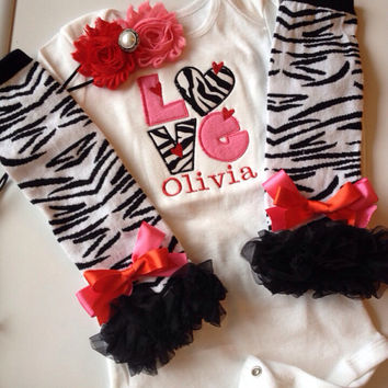 Baby Girl Outfit - Valentine's Day baby girl outfit - zebra print baby - zebra print legwarmers - valentines headband