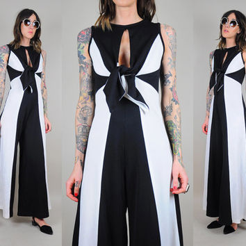 Black & white vtg 70's CUT OUT jumpsuit PALAZZO Colorblock striped Bell Bottom Disco keyhole tie