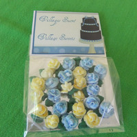 Royal Icing Edible Tiny Roses in Blue & Yellow with leaves