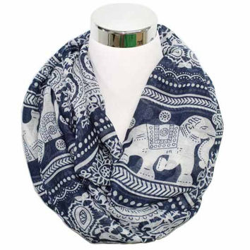 Free Shipping 2017 New Fashion Winter Women Wine Red Navy Vintage  Animals Print Elephant  Infinity Scarf Snood