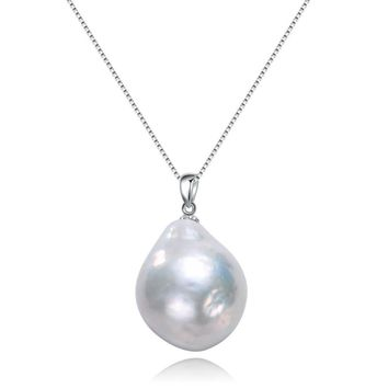 SNH 925 Sterling Silver Big Large Size baroque Shape Natural Freshwater Pearl Pendant Necklace