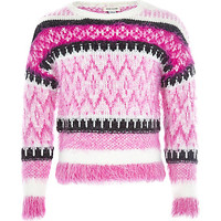 River Island Girls pink fairisle fluffy sweater