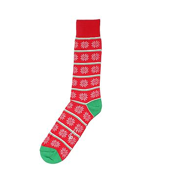 Snowflake Stripe Socks in Red by Byford - FINAL SALE