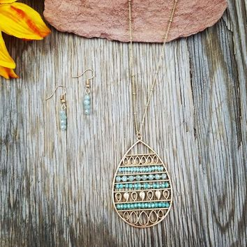 Beaded Teal & Gold Teardrop Necklace